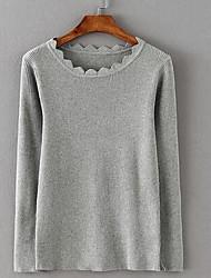 Damen Standard Pullover-Ausgehen Lässig/Alltäglich Retro Solide Grün Mit Kapuze Langarm Polyester Winter Mittel Mikro-elastisch
