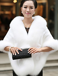 Women's Going out / Casual/Daily Sophisticated Fur Coat,Color Block V Neck ¾ Sleeve Winter Red / White / Black / Gray Fox Fur Thick