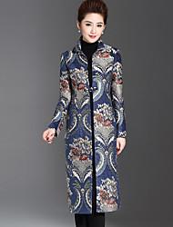 Feminino Casaco Casual / Tamanhos Grandes Sofisticado Inverno,Jacquard Azul Poliéster / Elastano Colarinho Chinês-Manga Longa