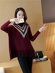 Normal Pullover Femme Décontracté / Quotidien simple,Rayé Rose Rouge Noir Col Roulé Manches Longues Acrylique Automne Moyen