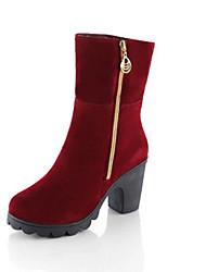 Women's Boots Winter Comfort Fleece Casual Chunky Heel Black Burgundy