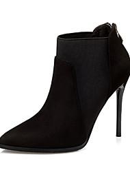 Women's Boots Winter Comfort Suede Dress Stiletto Heel Zipper Black