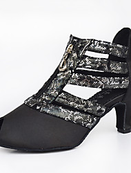 Chaussures de danse(Noir) -Personnalisables-Talon Bottier-Satin-Latine / Jazz / Baskets de Danse / Moderne