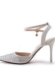 Women's Sandals Spring Summer Fall Comfort Slingback Ankle Strap Glitter Wedding Casual Party & Evening Stiletto Heel Crystal Buckle