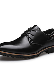 Men's Oxfords Fashion Wedding Shoes Comfort Leather Shoes Party & Evening Low Heel Lace-up Black / Brown