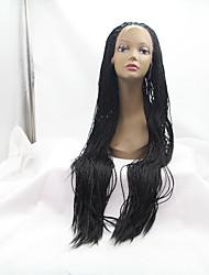 sylvia dentelle synthétique perruque avant cheveux tressés noirs raides petites tresses chaleur perruques synthétiques résistantes pour