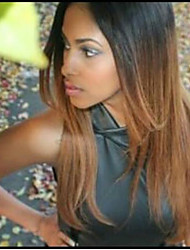 Lace Front Wig Brazilian Virgin Human Hair Yaki Straight Ombre Color Black to Blonde For Black Women