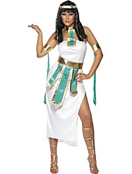 Cosplay Costumes Egyptian Costumes Movie Cosplay White Solid Dress / Belt / Headwear Halloween / Carnival Female Polyester