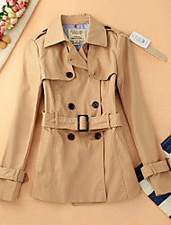 Women's Casual/Daily Simple Trench Coat,Solid Shirt Collar Long Sleeve Fall Multi-color Cotton