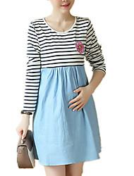 Gravidez Solto Vestido,Casual Simples Colorido / Retalhos Decote Redondo Acima do Joelho Manga Longa Azul / Vermelho Algodão / Outros