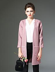 Dame Vintage Casual/hverdag Normal Cardigan Ensfarvet,Beige / Lilla V-hals Langærmet Bomuld / Rayon Vinter Medium Mikroelastisk