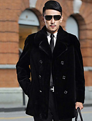 Men's Casual/Daily Simple Fur Coat,Solid Shirt Collar Long Sleeve Winter Black Faux Fur