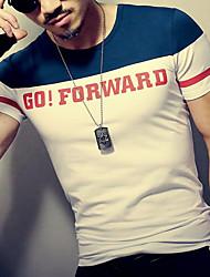 Masculino Camiseta Esportes Formal Casual TrabalhoEstampado Retalhos Algodão Manga Curta