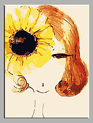 Hand Painted Oil Painting Girl  Home Decor For Living Room with Stretched Frame Ready to Hang