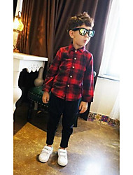 Boy Casual/Daily Plaid Shirt,Cotton Winter Long Sleeve Regular