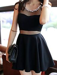 Robe Femme SoiréeCouleur Pleine Col Arrondi Mini Sans Manches Noir Polyester Eté Micro-élastique Moyen