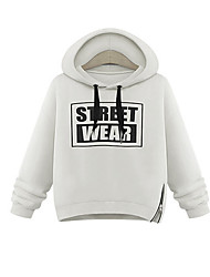 Women's Casual/Daily Active Simple Hoodie Letter Print Oversized Round Neck Fleece Lining Micro-elastic Polyester Long Sleeve Fall Winter
