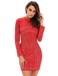 Women's Casual/Daily Sexy Bodycon Dress,Solid Crew Neck Mini Long Sleeve Red / White Polyester