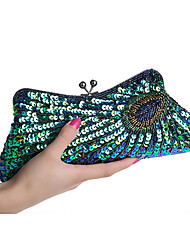L.WEST Women's Handmade Beaded Peacock Evening Bag