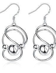 Ms Euramerican Style Fashion Figure 8 Hanging Bead Earrings Contracted Geometric Modelling Silver Earrings for Wedding Party Daily Halloween