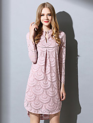 Women's Going out / Casual/Daily / Work Cute Shift Dress,Solid Round Neck Above Knee Long Sleeve Pink Cotton / Polyester Spring / FallMid