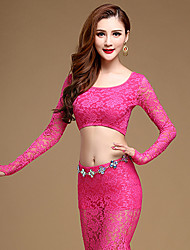 Belly Dance Outfits Performance Lace Lace 2 Pieces Long Sleeve Natural Top / Skirt No Include Waist Chain