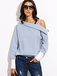 Tee-shirt Femme,Rayé Décontracté / Quotidien Sortie simple Chic de Rue Printemps Automne Manches Longues Une Epaule Bleu Polyester Moyen