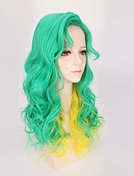 nuovo verde per l'alta qualità onda allentata resistente giallo due toni della parrucca di colore gradiente ombre fashon cosplay del