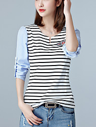 Women's Fine Stripe Casual/Daily Street chic Spring / Fall Slim T-shirt Striped V Neck Long Sleeve White Cotton Medium
