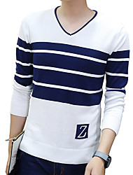 Men's Casual/Daily Plus Size Vintage Cute Street chic Regular Pullover,Striped Blue White Gray Round Neck Long Sleeve Cotton Fall Winter