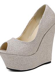 Damen-High Heels-Hochzeit Party & Festivität-Leder-Keilabsatz-Komfort Neuheit-Silber Gold