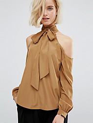 Feminino Camisa Social Casual / Trabalho Simples / Moda de Rua Todas as Estações,Sólido Amarelo Algodão Gola Alta Manga Longa Fina