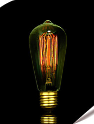 60w ST58 lâmpadas incandescentes edison 19 e27 de seda lâmpadas decorativas retro fio vertical,