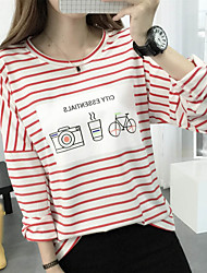 Women's Casual/Daily Simple Fall T-shirt,Striped / Print Round Neck Long Sleeve Black Cotton Medium