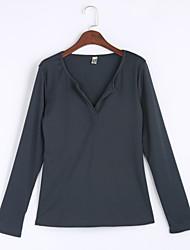T-shirt Da donna Casual Sensuale Autunno / Inverno,Tinta unita A V Cotone Nero / Grigio Manica lunga Medio spessore