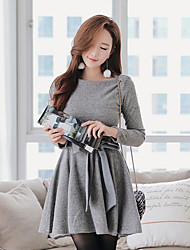 16 essential winter temperament Slim lace long-sleeved knit dress bottoming A word