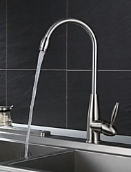 Traditional Deck Mounted Standard Spout Widespread with Ceramic Valve Single Handle for  Nickel Brushed , Kitchen faucet