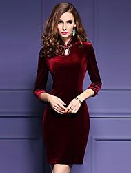 Feminino Tubinho Vestido, Para Noite Tamanhos Grandes Sensual Sólido Colarinho Chinês Acima do Joelho Manga ¾ Vermelho PoliésterPrimavera