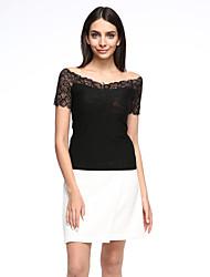 Women's Patchwork Black Blouse,Sexy/Plus Size Lace Mesh Embroidery Elegant V Neck Short Sleeve