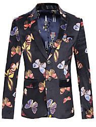 Men's Plus Size / Going out / Party/Cocktail Vintage / Street chic / Chinoiserie All Seasons Blazer,Animal Print V Neck Long Sleeve Blue