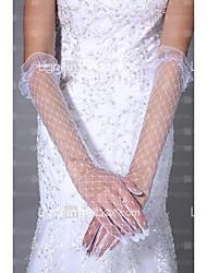 Até o Cotovelo Com Dedos Luva Tule Luvas de Noiva