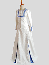 Outfits Gothic Lolita Vintage Inspired / Victorian Cosplay Lolita Dress White Jacquard Long Sleeve Floor-length Tuxedo For Women Satin