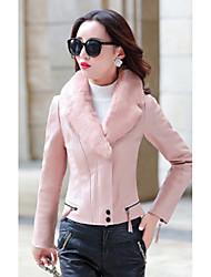 Feminino Jaqueta Casual Moda de Rua Inverno, Sólido Rosa Preto Cinza Poliuretano Colarinho de Camisa-Manga Longa Grossa