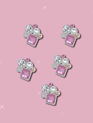 B633 10pcs/lot 10.5mm*9mm Pink Cube Nails Studs 3D Nail Art Rhinestones Decorations Glitters Nail Tools