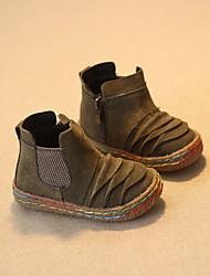 Boy's Boots Winter Comfort Cowhide Casual Flat Heel Green Gray