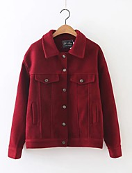 Women's Going out / Casual/Daily Simple / Street chic Jackets,Solid Shirt Collar Long Sleeve Fall / Winter Blue / Red / GreenRayon /