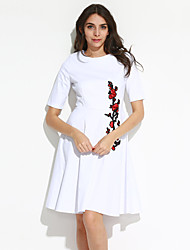 Big Yard Ladies Going out Vintage Sheath / Swing Dress,Embroidered Round Neck Knee-length ¾ Sleeve White / Black