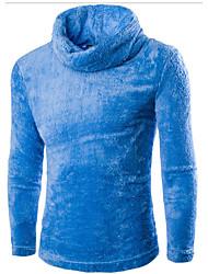 Men's Casual/Daily Simple Regular Cardigan,Solid Blue White Black Gray Turtleneck Long Sleeve Polyester Spring Fall Medium Micro-elastic