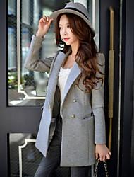 casual / trabalho / vintage sofisticado blazer das mulheres dabuwawa, sólida entalhe lapela de manga comprida