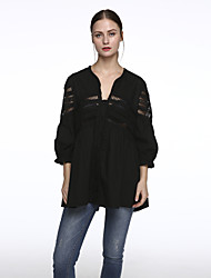 Women's Patchwork White / Black / Yellow Shirt,Round Neck ½ Length Sleeve